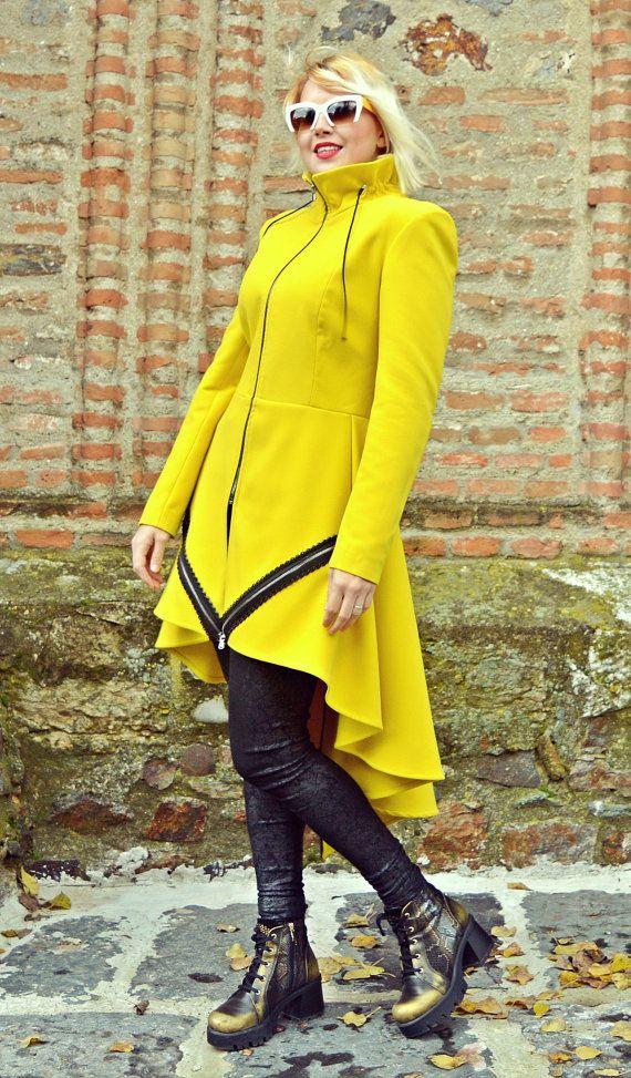 SUN SALE 25% OFF Lemon Yellow Extravagant Coat / Funky Long