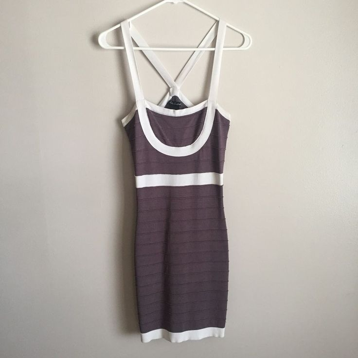 Mini Dress Bodycon Size Medium Body Central Women's White and Gray Stretch #BodyCentral #Bodycon #PartyCocktail