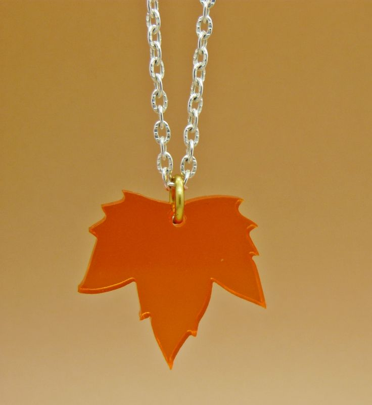 A stunning see through orange & in red Autumn Fall maple leaf charm necklace On silver plated chain - a true piece of iconic autumnal beauty
