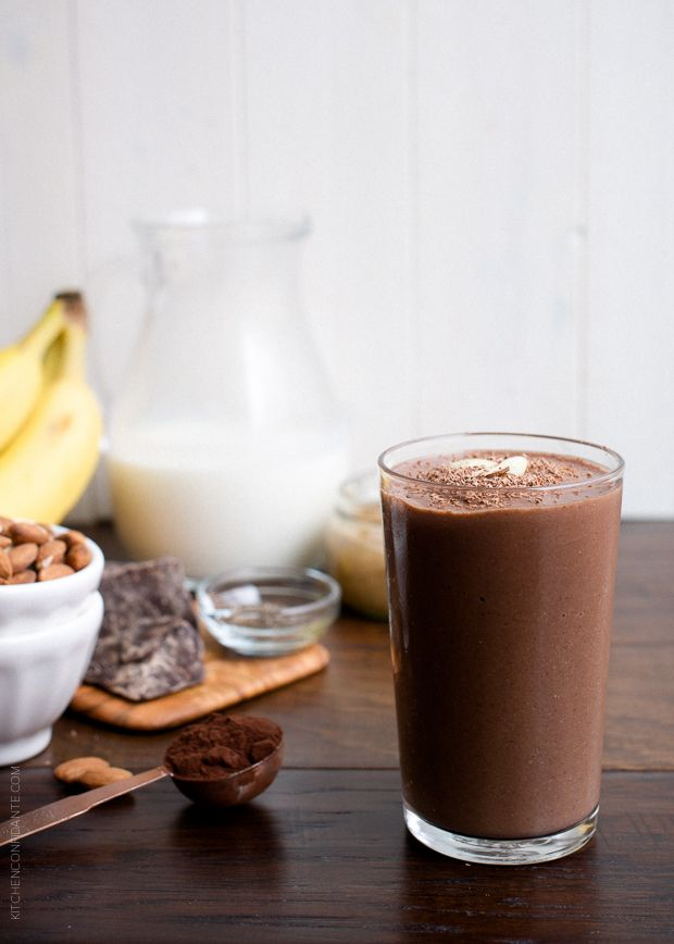 Dark Chocolate Almond Butter Smoothie | www.kitchenconfidante.com    This recipe for Dark Chocolate Almond Butter Smoothie is creamy, dreamy and tastes like a rich milkshake, but it's good for you and perfect after a workout!