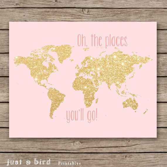Oh the places you'll go - 11x14 gold glitter nursery decor, printable world map, girls room decor, pink nursery decor - INSTANT DOWNLOAD