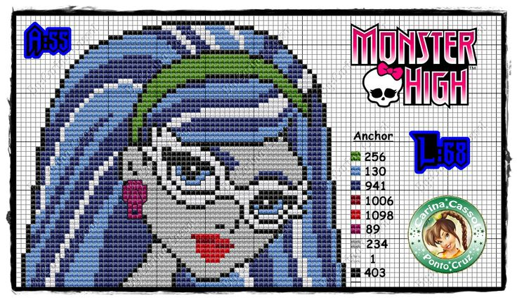Monster High Ghoulia Yelps perler bead pattern by Carina Cassol -