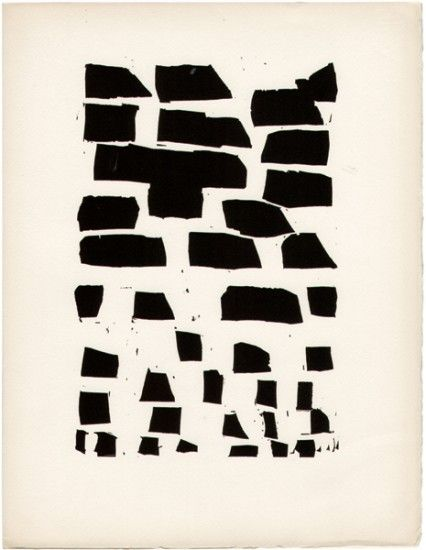 Nicolas de Staël: Illustration for folio of poems by Jacques Dubourg -- woodcut, Paris, 1952. Folio. pp. 45,  edition limited to 120 copies