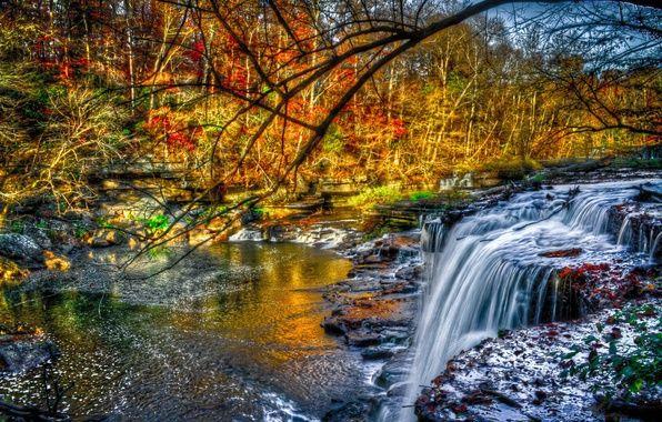 автор: shtumf / размер: 5202x3465 / теги: перекаты, водопад, деревья, желто-красно-зеленая, листва, осень, лес, река, камни
