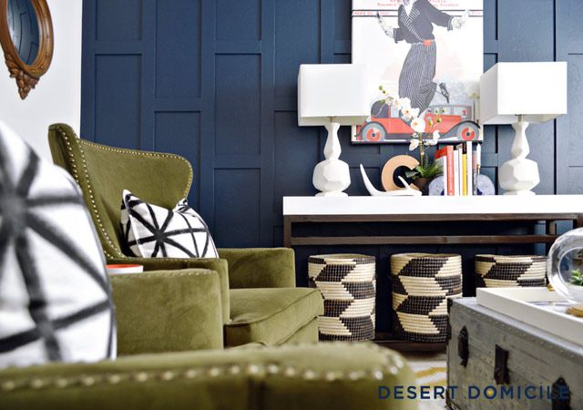 DIY Navy Accent Wall – Love the staggered look!
