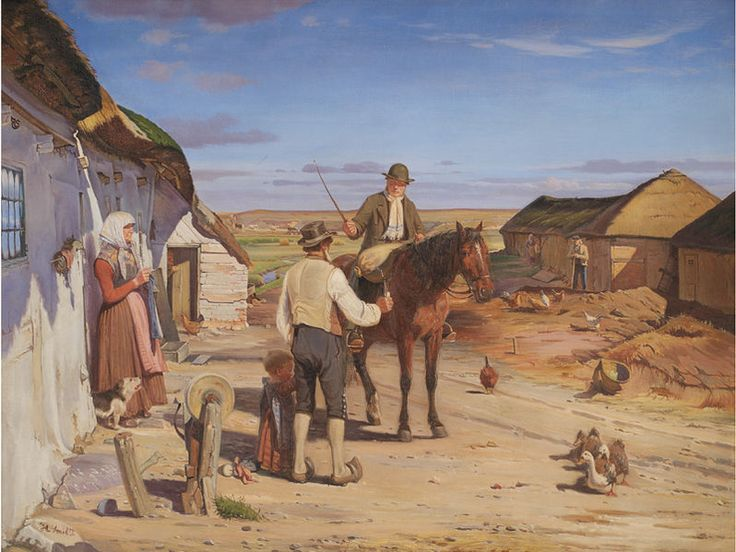 Hans Smidth En fremmed spørger om vej i bondegården på heden 1877.jpg