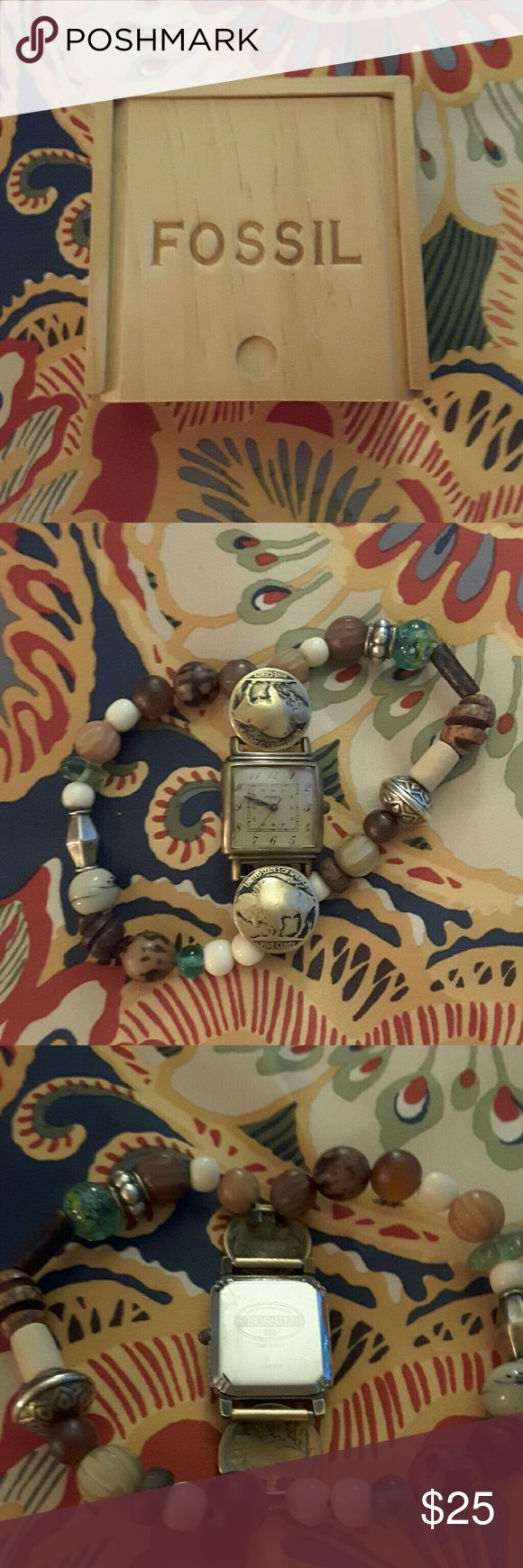 FOSSIL Indian Head watch New battery installed,all ready for you to own this lovely watch with natural stone bracelets Fossil Accessories Watches