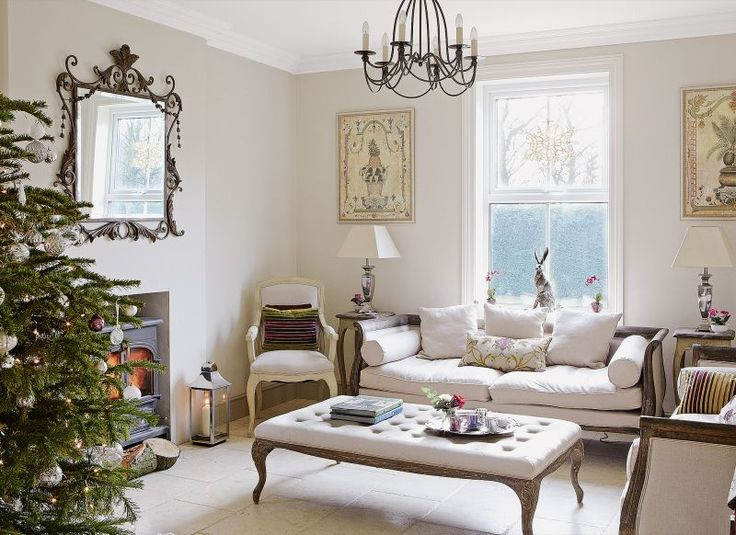 Neutral Period Living Room Dressed for Christmas