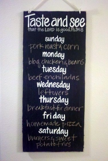 Make your own menu chalkboard or could be made as a dry erase board.
