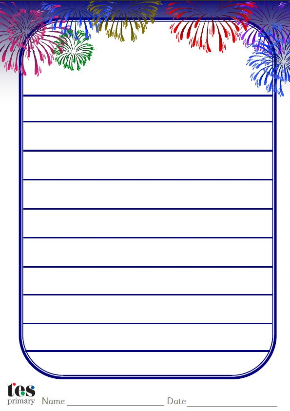 Themed, decorated paper that can be used as part of Firework themed activities within the classroom. Lined and unlined versions. Portrait orientation