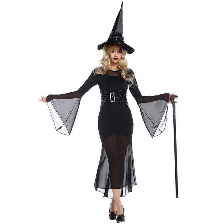 Adult Women Witch Costume Black Fancy Dress Halloween Magician Fancy Dress Hot #Unbranded #Dress #Party