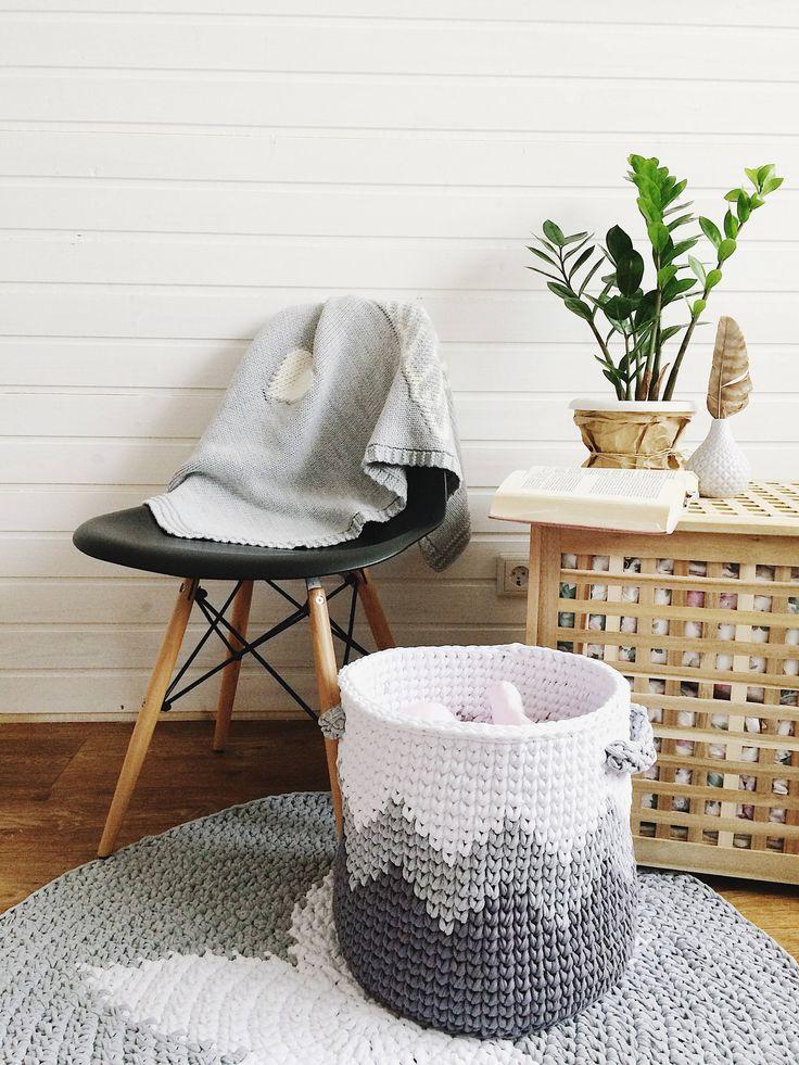 Large crocheted basket/Cotton Basket/Grey basket/Scandinavian Basket/Storage knitting basket /Nursery storage basket /Nursery Decor by MyCozyStudio on Etsy