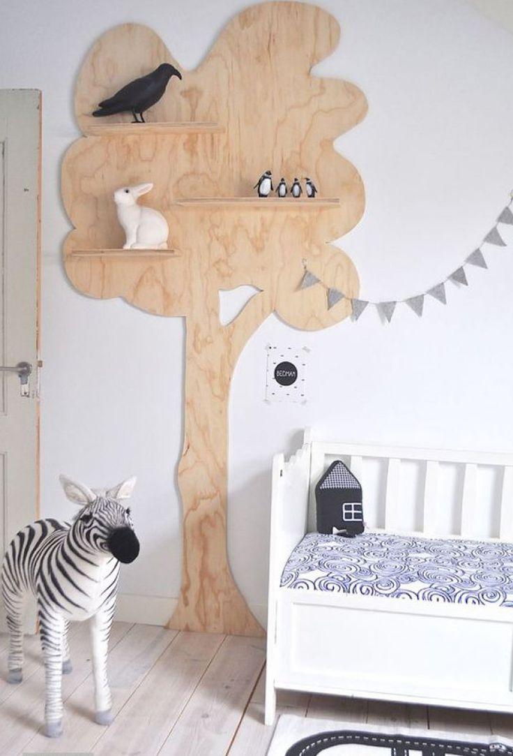 étagère arbre bois