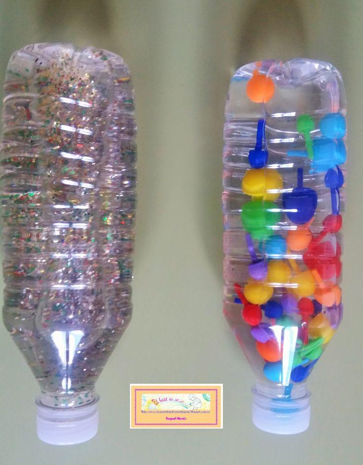 Botellas sensoriales: con purpurina y con pinchitos. Atractivas, relajantes en ambos modelos, con sonido la segunda opción.