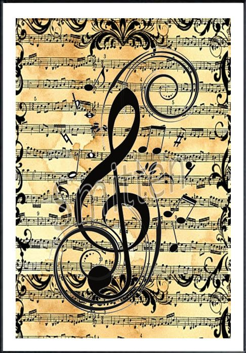 Treble Clef over Sheet Music 4x6 Art Print by SmittensDesigns