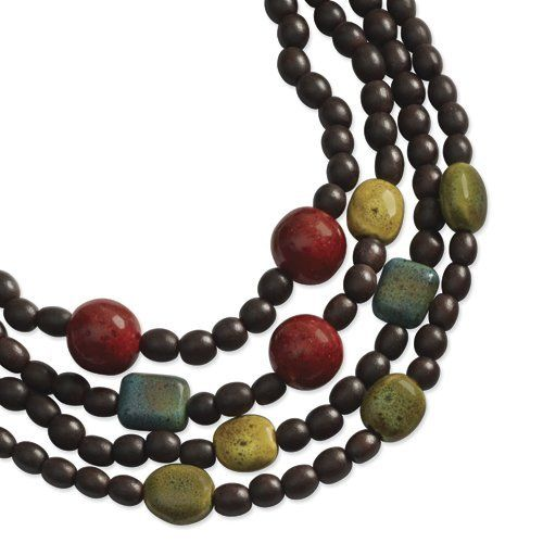 Gold-Tone & Multi-Colored Natural Wood Layered Necklace Shop4Silver. $11.08