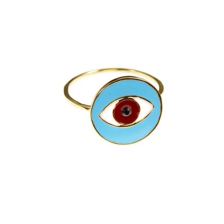Inga ring | $49. Fine statement ring crafted in 9ct gold plating, with large evil evil pendant motif in sky blue, red and white enamel. Shop now: http://www.savethelastpinker.com.au/shop/inga-ring/