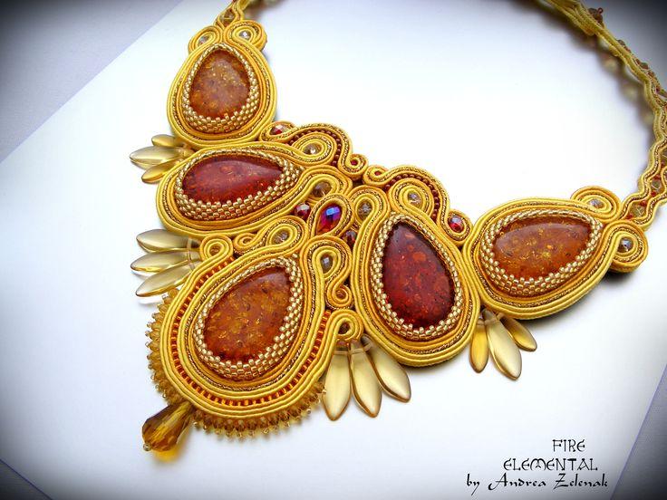 Soutache necklace - Fire - Andrea Zelenak