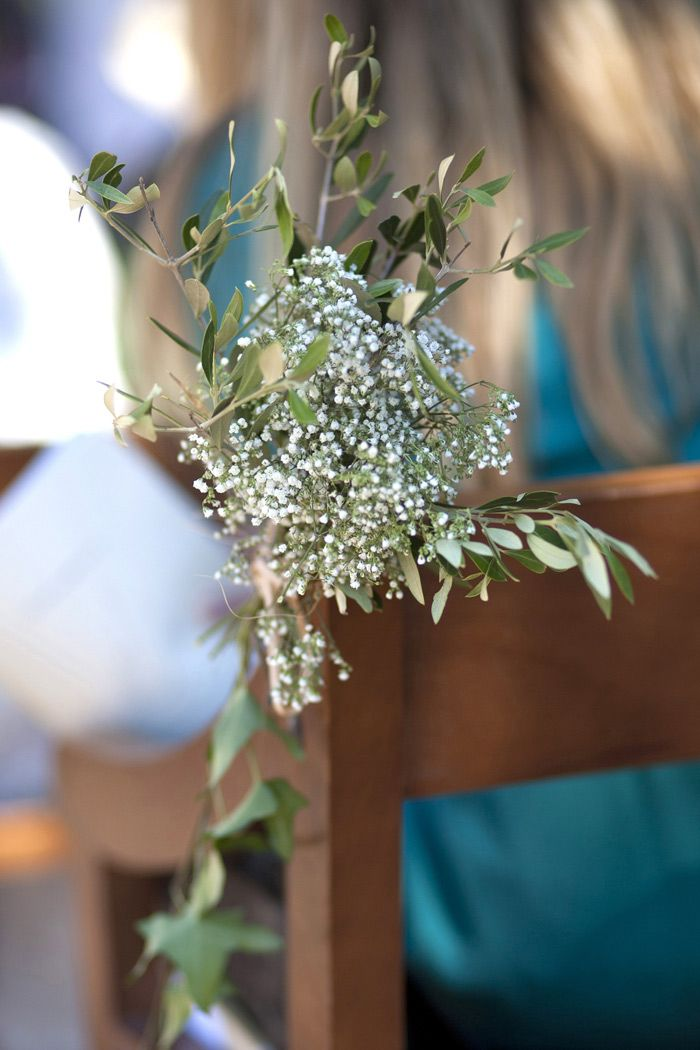 Decoration église mariage gypsophile olivier