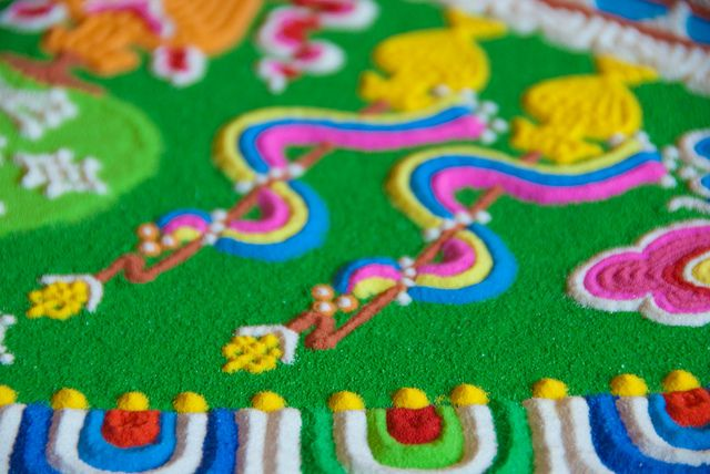 Tibetan Sand mandala....u have to admire such exquisite precision on a piece intended to be impermanent