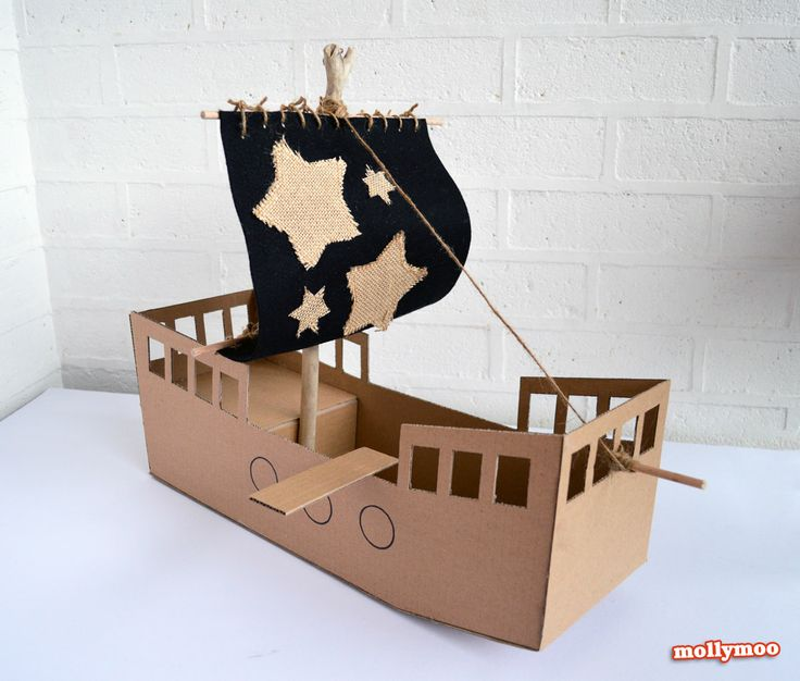 From Cardboard Box to Pirate Ship in less than 1 hour | MollyMooCrafts.com
