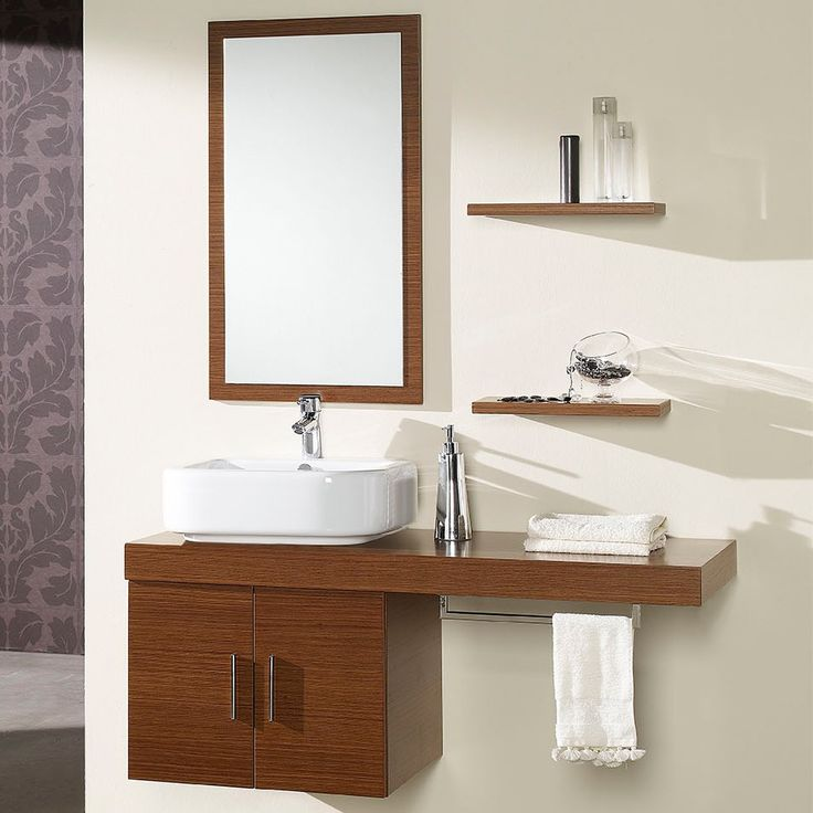 Conjunto mueble de baño Mix Nogal  #hogar #decoracion