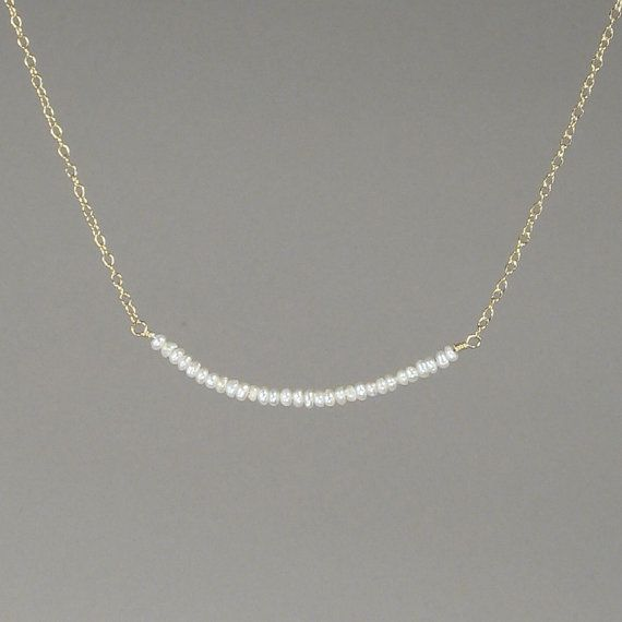 Dainty Delicate Freshwater Seed Pearl Necklace Fine Jewelry Simple Everyday Chic 14kt Gold Filled Genuine Tennie Tiny on Etsy, $38.00