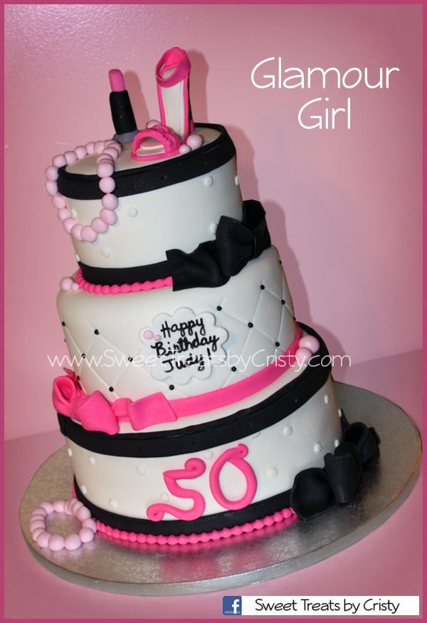 Glamour Girl Cake With Fondant Shoe Lipstick And Pearls