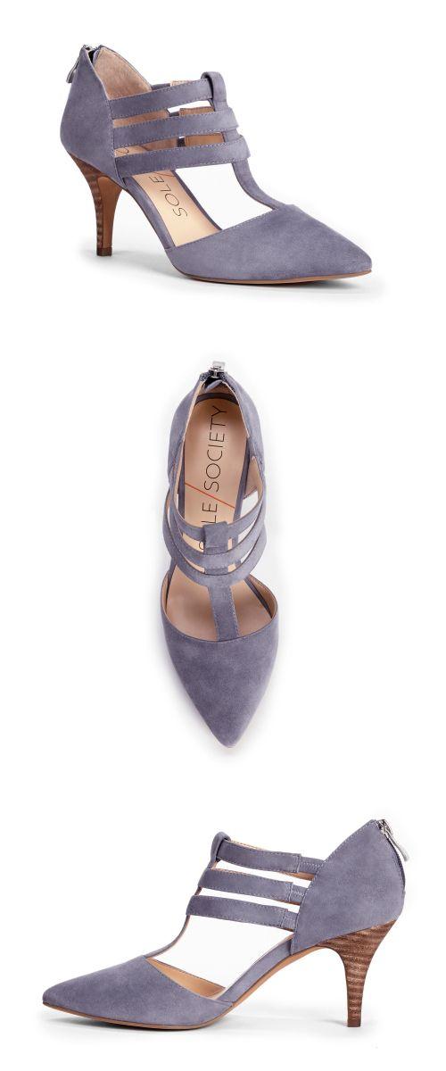 Suede T-strap mid heels