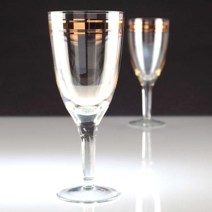 2 Vintage Weingläser Weißweingläser Wassergläser Goldrand Gläser W2C