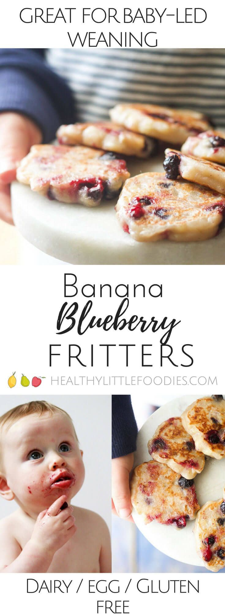 Banana Blueberry Fritters. Only 3 ingredients . Dairy free, gluten free and egg free and no refined sugar. Great for kids and for baby led weaning. via Healthy Little Foodies