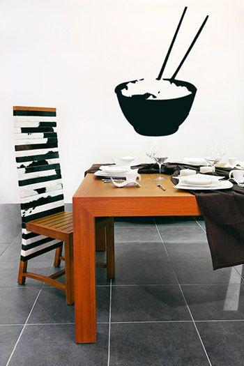 Rice Bowl Wall Decal, Kitchen Wall Decal, Chopsticks, Asian Wall Decor, Food