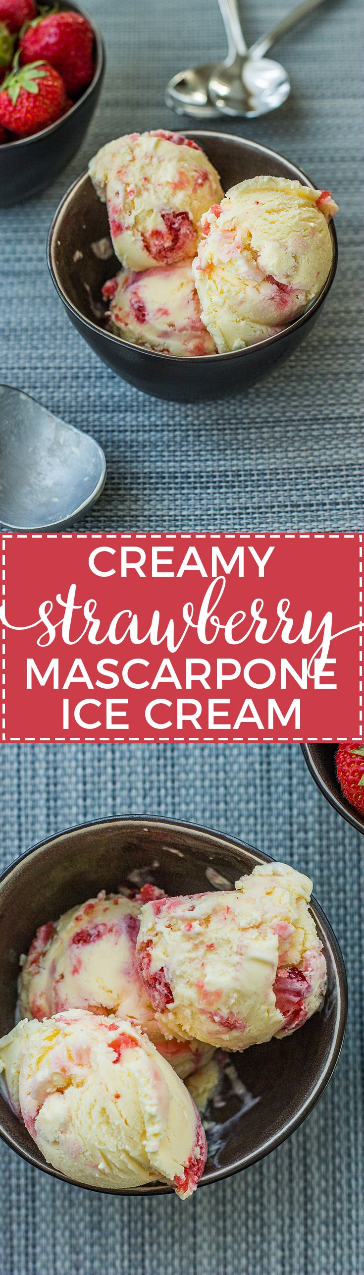 Homemade strawberry mascarpone ice cream is a creamy, refreshing summer treat. An impressive dessert for any BBQ or cookout. via @nourishandfete