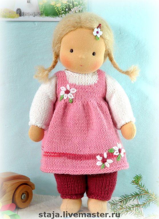 Купить Любимка - розовый, waldorf doll, вальдорфская кукла, хлопок, шерсть
