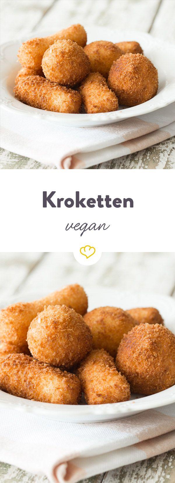 Diese veganen Kroketten werden statt in der Fritteuse im Backofen schön knusprig und braun gebacken.