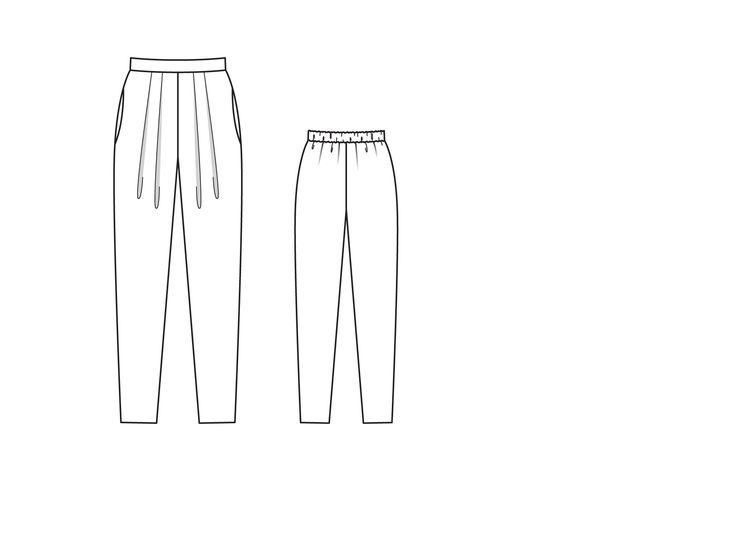 Брюки без застежки - выкройка № 118 B из журнала 1/2015 Burda – выкройки брюк на Burdastyle.ru