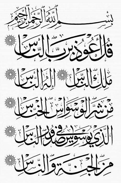 """Surah An-Nas Verses 1-6 In the Name of Allah, the Most Beneficent, the Most Merciful. 1. Say: """"I seek refuge with (Allah) the Lord of mankind, 2. """"The King of mankind, 3. """"The Ilah (God) of mankind, 4. """"From the evil of the whisperer (devil who whispers evil in the hearts of men) who withdraws (from his whispering in one's heart after one remembers Allah) , 5. """"Who whispers in the breasts of mankind, 6. """"Of jinns and men."""""""