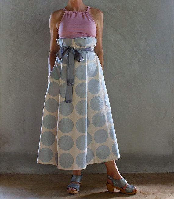 Metallic Silver Spot Paper Bag Waist A Line Skirt by mijentto