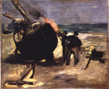 Edouard Manet - le bateau goudronné.                                                                                                                                                                                 More