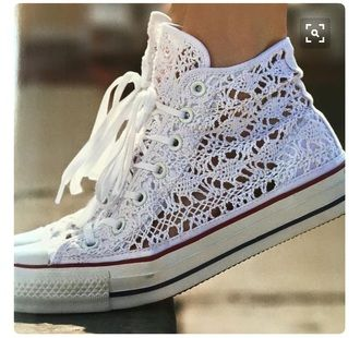 $55 Cute Cool Girly Street Style White Lace Crochet High Top Converse Sneakers