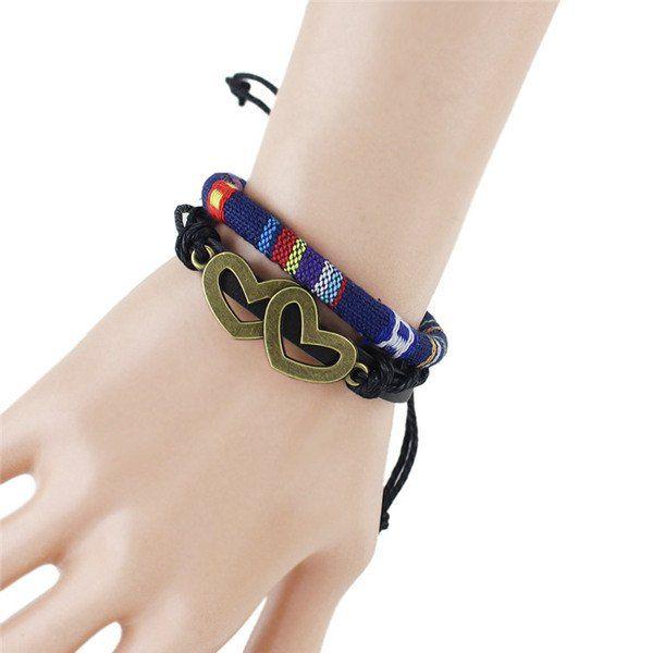Chic Hollow Double Hearts Embellished Women's Tribal Style Wrap Bracelet