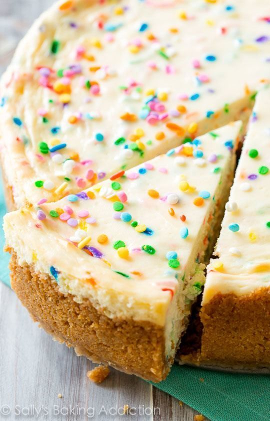 Funfetti Cheesecake on sallysbakingaddic.... Doesnt get much better than this!