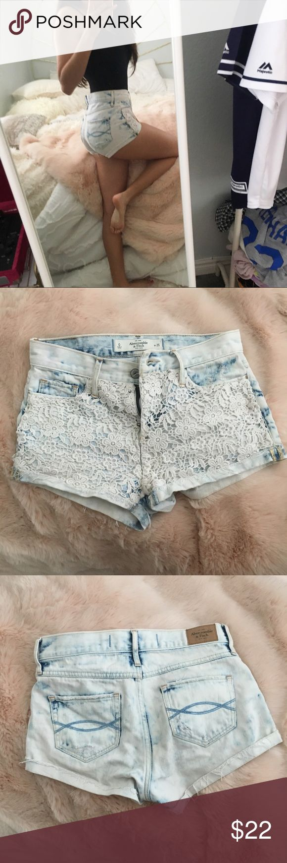 Abercrombie and Fitch lace acid wash shorts Abercrombie and Fitch High Denim Waisted Shorts Light Acid Wash with Lace/Crochet Detail in front Folded distressed hem Size 0 (25 W)  Jean material is not stretchy  In good condition, no flaws Abercrombie & Fitch Shorts Jean Shorts