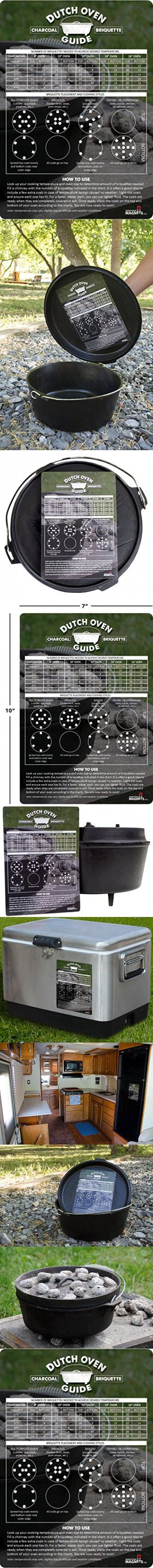 Dutch Oven Charcoal Briquettes Magnetic Cheat Sheet / Briquette Temperature Conversion Chart - The Perfect Fridge Magnet to Add To Your Dutch Oven Cookbook, Camping Gear and RV Accessories!