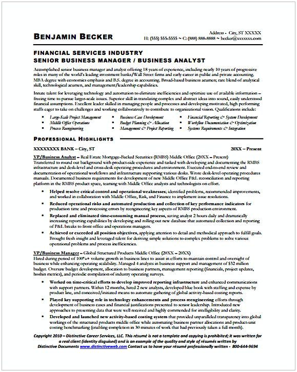 Sample Senior Business Manager Analyst Resume   Entry Level