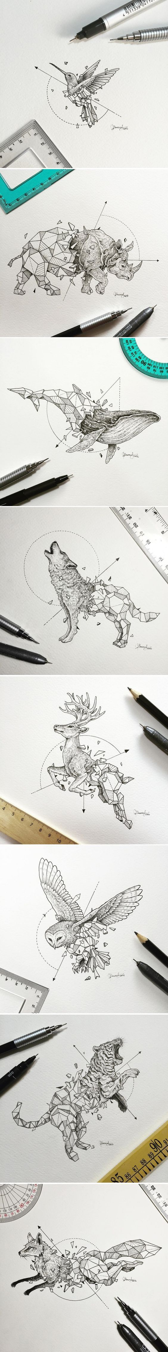 Philippines-based designer Kerby Rosanes has been doing intricate artwork with a simple collection of black pens for years now. One of his more recent projects caught our attention though, and it's because of the way it mixes two different styles so well that it might as well be the peanut butter and jelly of illustration. Take a look!:
