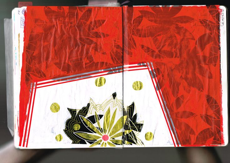 diary today: 19 juli 2015  sketchbookspread (37x25 cm), collage, acrylic, goldmarker