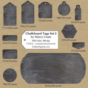 CU4CU - $1 Chalkboard Tags Set No. 2 by Marcy Coate