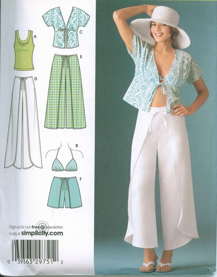 Womens Wrap Harem Pants Shorts Pattern Simplicity 4192