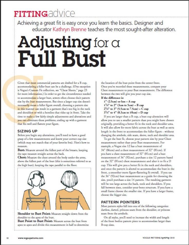 "Article on FBA / Full Bust Adjustment: ""Adjusting for a Full Bust—from VPM April/May 2010"".A PDF Article from 'Vogue Patterns Magazine' (the same magazine is called 'SEW TODAY' in the UK). Achieving a great fit is easy once you learn the basics. Designer and educator Kathryn Brenne teaches this most sought-after alteration. Direct download link here: http://voguepatterns.mccall.com/filebin/pdf/Articles/VPMAM10_Adjusting_Full_Bust.pdf"